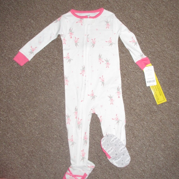 Carter/'s Girls/' Ivory White Ballerina Fleece Footed Coverall Sleepwear Size 3T